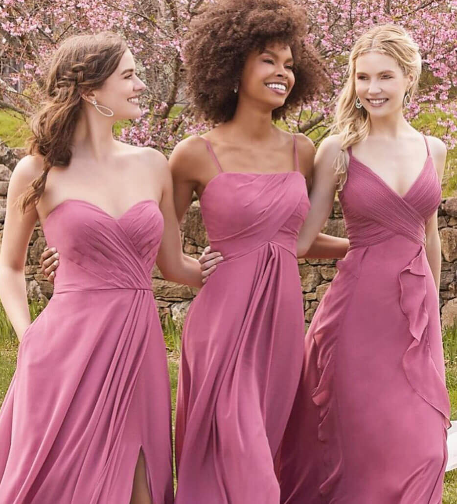 Photo of bridesmaids in pink dresses