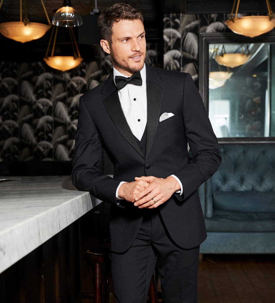 Photo of male model in a black Tuxedo
